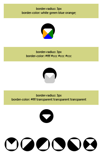 border-radius and border-color property to draw a shape